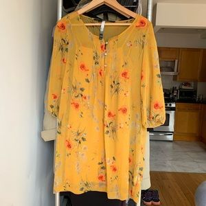 Xs Kensie yellow floral tunic dress w/ 3/4 sleeves